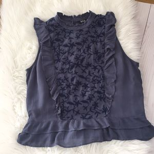 Embroidered High Neck Sleeveless Blouse
